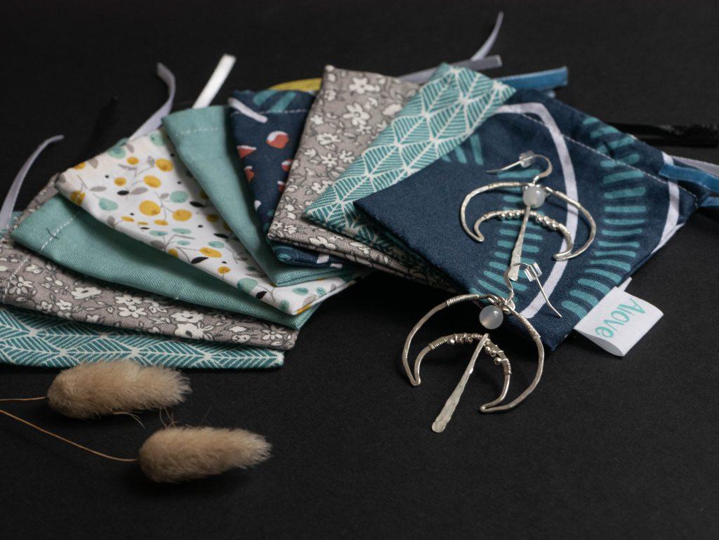 Packaging bijoux Klotoux : pochons réutilisables fabriqué par Aiove, en coton upcyclé