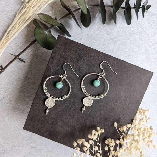 Boucles d'oreille AVENA en argent, en partie recyclé et amazonite (pierre naturelle)