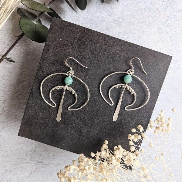 Boucles d'oreille LUNA en argent, en partie recyclé et amazonite (pierre naturelle)