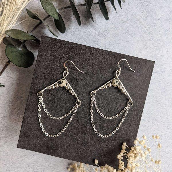 Boucles d'oreille NORI en argent, en partie recyclé et jaspe dalmatien (pierre naturelle)