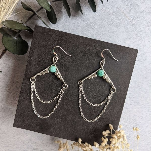 Boucles d'oreille NORI en argent, en partie recyclé et turquoise (pierre naturelle)