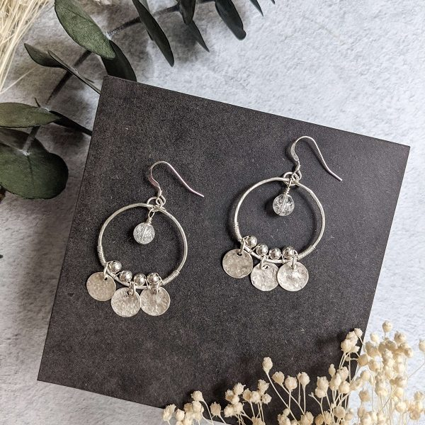 Boucles d'oreille OLEA en argent, en partie recyclé et quartz (pierre naturelle)
